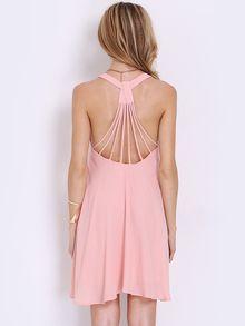 Pink Sleeveless Backless Pleated Dress