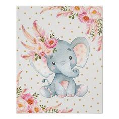 Pink Floral Elephant Nursery Art Boho Floral Decor
