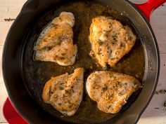 Chicken with Provençal Sauce | Provençal sauce, made from herbes de Provence, chicken broth, butter, garlic, and lemon juice, is a simple sauce that goes great with chicken. Serve this dish with roasted potato wedges.