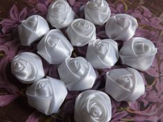 Satin fabric Rose Flowers 10 White Fabric flowers by sweetiefluhr