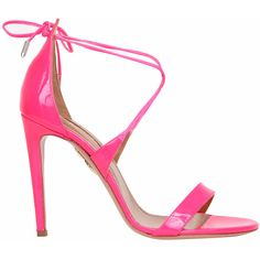 Aquazzura Linda patent-leather sandals ($588) ❤ liked on Polyvore featuring shoes, sandals, fucsia, ankle wrap sandals, high heel shoes, summer sandals, high heel sandals and leather sole shoes