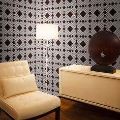 A temporary and repositionable wall decor in a distinctive Diamond Chocolate design.  Features: Self-Adhesive / Repositionable / Temporary Wallpaper Match Type