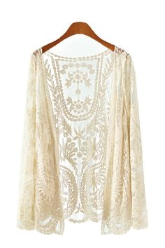 Love! Love! LOVE! So Pretty! Printed White Lace Long Sleeves Jacket #White_Lace #Jacket #Fall #Fashion #Trends