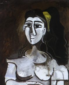 Bust of Woman with Yellow Ribbon (Jacqueline) - Pablo Picasso  1962
