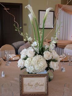 Low Hydrangea And Calla Lily Centerpieces