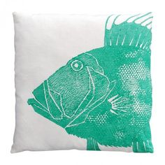 Turquoise fish pillow