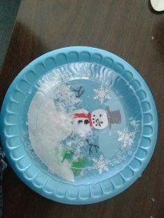 Paper plate snowglobe.