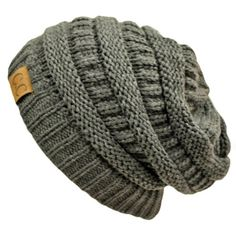TOPSELLER! Charcoal Grey Thick Slouchy Knit Oversized Beanie Cap Hat $12.99