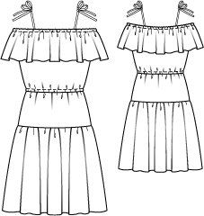 Tiered Off the Shoulder Dress 07/2014 #120 – Sewing Patterns | BurdaStyle.com