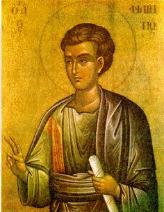 Pictured above is St. Philip the Apostle. The Holy and All-praised Apostle Philip, was a native of the city of Bethsaida in Galilee. He had a profound depth of knowledge of the Holy Scripture, and rightly discerning the meaning of the Old Testament prophecies, he awaited the coming of the Messiah.