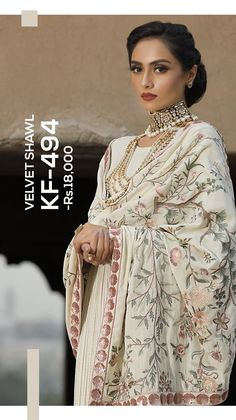 white heavy embroidered velvet shawl Nishat Linen Winter Formal Dresses Velvet Shawls & Jackets consists of embroidered heavy embellished velvet shawls, jackets, suits, shirts White Velvet Dress, Velvet Suit, Velvet Dresses, Pakistani Fashion Party Wear, Pakistani Outfits, Most Beautiful Dresses, Nice Dresses, Winter Formal Dresses, Dress Winter