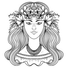 Portrait Gypsy Woman Flower Around Head Stock Vector (Royalty Free) 478369930 People Coloring Pages, Flower Coloring Pages, Free Coloring Pages, Gypsy Women, Adult Coloring, Flower Power, Royalty Free Stock Photos, Photo And Video, Portrait