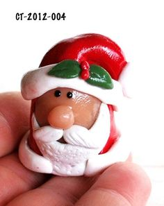 Christmas Santa Collectible Thimble Handmade Polymer Clay Holiday  | bluemorningexpressions - Needlecraft on ArtFire