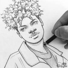 New illustrations, sketches and original art work by Rik Lee — Rik Lee – Frauen Haar Modelle Girl Drawing Sketches, Guy Drawing, Pencil Art Drawings, Realistic Drawings, Drawing People, Sketches Of Boys, Afro Hair Drawing, Boy Sketch, Cartoon Kunst