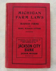 Antique Book 1909 Michigan Farm Laws  Animals by LuvStephenKing
