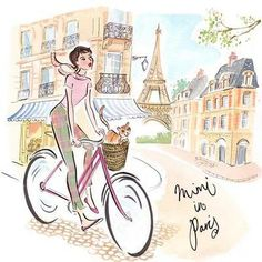 Mimi the Cat in Paris by Robyn Neild - bicycle illustration Paris Kunst, Paris Art, Illustration Mignonne, Illustration Mode, Bicycle Illustration, Tour Eiffel, Deco Paris, Arte Fashion, Little Paris