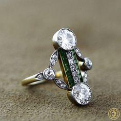 Edwardian Diamond and Emerald Cocktail by EstateDiamondJewelry, $25000.00