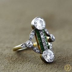 Edwardian Diamond and Emerald Cocktail Ring - Estate Diamond Jewelry - Antique Ring - Circa 1910