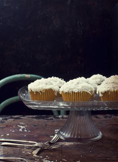Coconut and Orange Blossom Water Cakes with Orange Blossom Cream Cheese Frosting