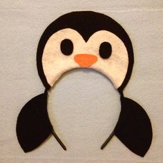 Penguin headband birthday party favors supplies costume invitation hat Christmas winter wonderland black white orange hat photo booth prop Halloween costume party ideas baby babies child children kid adult by Partyears on Etsy www.partyears.etsy.com