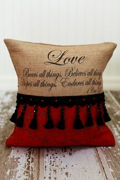 Love Scripture Valentine Pillow by MonMellDesigns on Etsy, $52.00