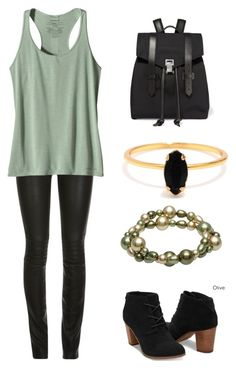 """""""green gold and black"""" by annabellabeautiful ❤ liked on Polyvore featuring ElleSD, Patagonia, TOMS, Alexa Starr, Bing Bang and Proenza Schouler"""