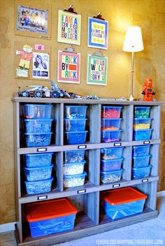 This Ultimate Lego Storage system went together with a fun bookcase and tubs from a dollar store.