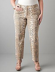 Get one of the wildest looks in denim with leopard print ankle jeans by Seven7. Sexy slim fit ends at just the right length to show off your favorite heels. Five-pocket style, button & zip fly closure with belt loops. lanebryant.com