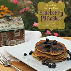 Grain Free Coconut Flour Blueberry Pancakes