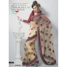 Beige color Net saree