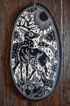 deerjerk:Deer Family. 2015 Linocut Prints, Art Prints, Block Prints, Lino Art, Stamp Carving, Deer Family, Encaustic Painting, Sgraffito, Tampons