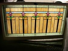 5 Flower 1920's Chicago Bungalow Transom Stained Leaded Glass Window 46
