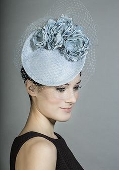 Powder blue straw mini disc with silk flowers and veiling
