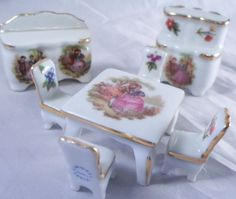 7 Limoges Porcelain Courting Couple Miniatures Table Buffet Hutch 4 Chairs