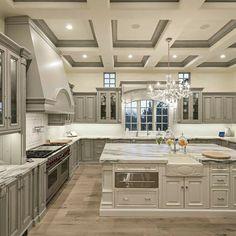 28 elegant white kitchen design and layout ideas 26 Luxury Kitchen Design, Dream Home Design, Luxury Kitchens, Elegant Kitchens, Interior Design Kitchen, Tuscan Kitchens, Dream Kitchens, Interior Decorating, Mansion Interior