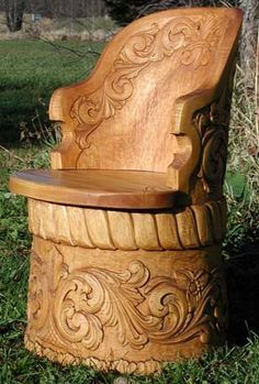 A kubbestol is a chair carved from a single piece of wood that has been seasoned for about 2 years.  Gorgeous.  Norsk Wood Works -- Norsk Kubbestol