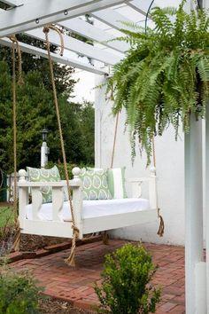 Bed porch swing in Charleston, SC.