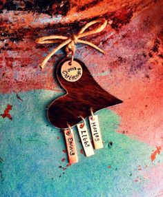 Cowhide Heart Personalized Christmas Ornament on Etsy, $40.00