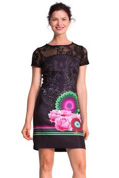 Desigual Matty - Robe - Taille empire - Imprimé - Manches courtes - Femme   Amazon 351db90f5753