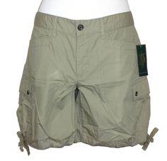 Ralph Lauren Womens Shorts Cargo Relaxed Fit Cotton Poplin Green 10 NEW $69.50 #RalphLauren #Cargo
