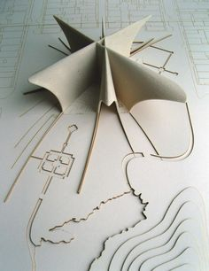 maquete, landscape etched and model protruding Architecture Model Making, Concept Models Architecture, Architecture Drawings, Landscape Architecture, Architecture Design, Origami Architecture, Planer Layout, 3d Modelle, Arch Model