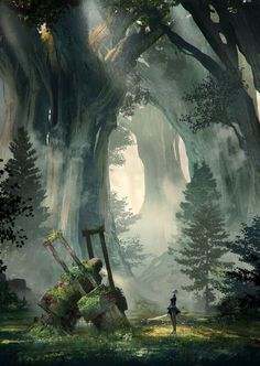 Cool forest painting idea with good depth.