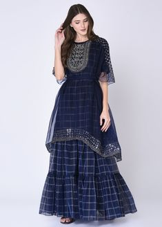 Navy Blue Short Kurta With Sharara & Cape Sharara Designs, Kurta Designs Women, Kurti Designs Party Wear, Blouse Designs, Pakistani Dresses, Indian Dresses, Indian Outfits, Designer Party Wear Dresses, Indian Designer Outfits