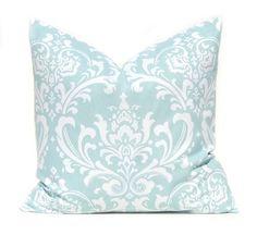 Decorative Throw Pillow Cover Powder Blue Aqua by FestiveHomeDecor, $15.00 Damask Osborne Premier Prints