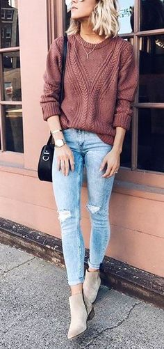 summer outfits Brown Knit + Ripped Skinny Jeans + Grey Suede Booties