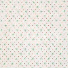 Stars and Dots on Cream Embroidered Eyelet Cotton Jersey Knit Fabric - Sweet green stars and pink dots embroidered eyelet on light cream color cotton jersey knit.  Fabric has a row every inch of three rows of small eyelet and embroidered vertical stripes and is soft with a nice stretch.  ::  $6.00
