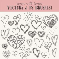 Make a sweet card for your Valentine or glam up your web space with these cute little doodle hearts! With so many different styles, youll be able to mix and match to suit any project. Each doodle heart comes in black and white versions as well as outlined and solid versions. PLUS you get the Photoshop brushes and vectors included so its super easy to customize them yourself! This pack includes... ♥ 56 Clipart Hearts: .PNG files with transparent background (in black, white, large, small) ♥…