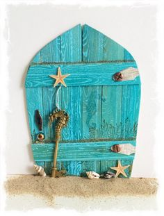NEW Handcrafted Water Fairy Door / Mermaid Fairy Door / Water Pixie Door (Turquoise Pointed Arch) Beach Fairy Garden, Fairy Garden Doors, Fairy Garden Houses, Fairy Doors, Deco Marine, Water Fairy, Mermaid Fairy, Fairy Crafts, Miniature Fairy Gardens