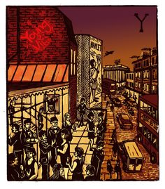 """""""Y - Young Vic"""" from """"London A-Z"""" Complete Boxed Set linocuts by Tobias Till, 2012. http://www.tobias-till.co.uk/. Tags: Linocut, Cut, Print, Linoleum, Lino, Carving, Block, Woodcut, Helen Elstone, Buildings, Architecture, Vehicles, Theatre, People."""