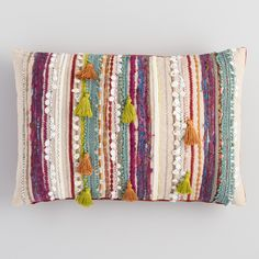 Multicolor Confetti Embroidered Stripe Lumbar Pillow by World Market Boho Pillows, Decorative Throw Pillows, Target Throw Pillows, Colorful Pillows, Best Pillows For Sleeping, Target Home Decor, Affordable Home Decor, Furniture Styles, Decorating On A Budget